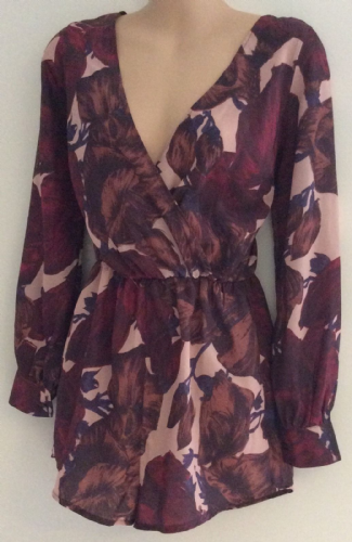 OH MY LOVE LADIES FLORAL LONG SLEEVED CROSS OVER CHEST PLAYSUIT BNWT SIZE XS 8